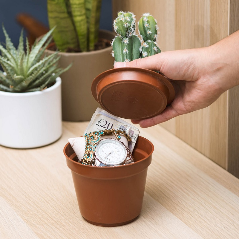 Cactus Safe - Storage Area Inside A Pot Plant
