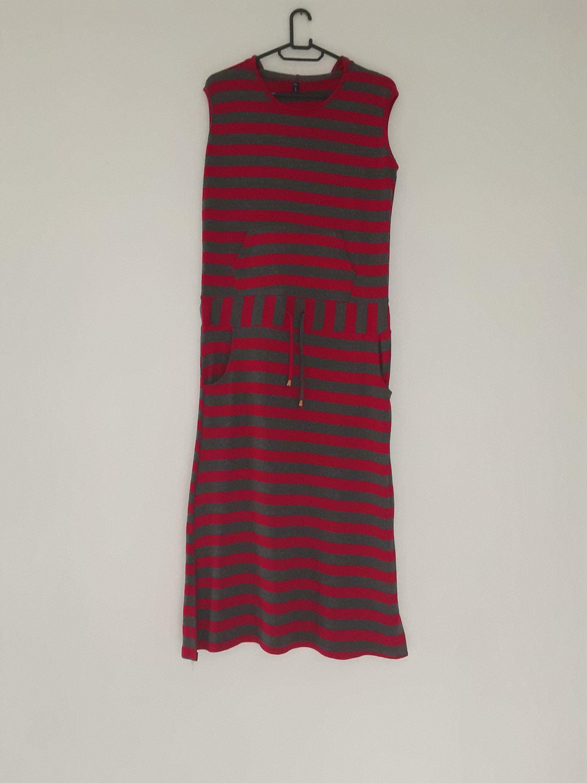 Red and Grey Stripped Dress