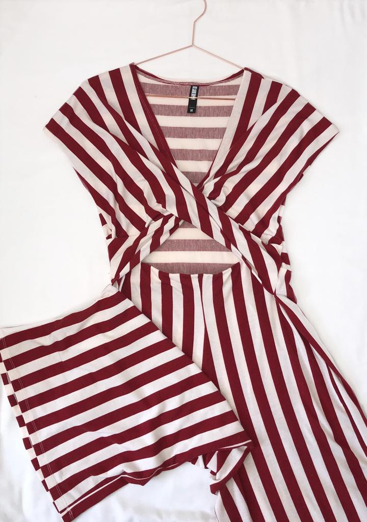 The Fix White and Red Stripped Jumpsuit