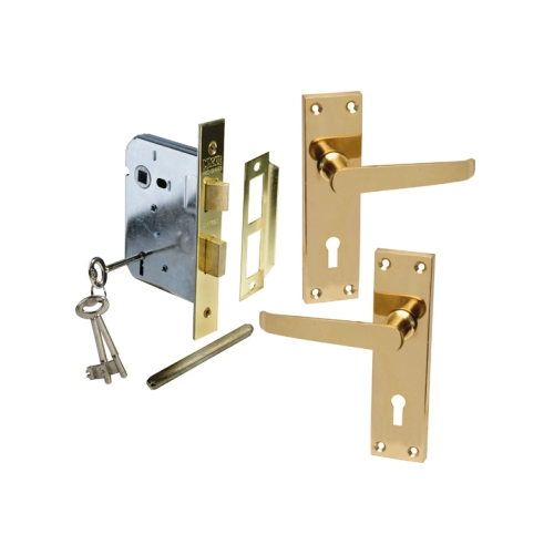 MACKIE CLASSIC BRASS STRAIGHT HANDLE & PREMIUM MORTICE LOCK COMBO SETS