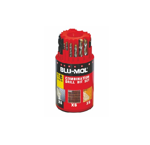 BLU-MOL DRILL BITS SET 18 PIECE METAL/MAS/WOOD