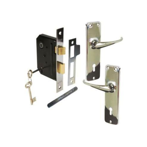 MACKIE MORTICE LOCKSETS WITH LIGHT CHROME DUTY PRESSED PLATE HANDLE - PRO SERIES