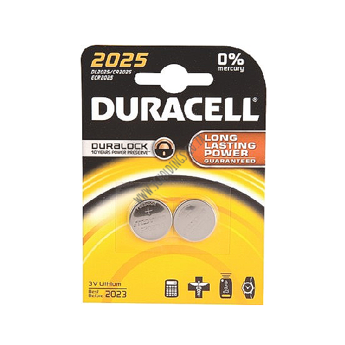 DURACELL DL2025 COIN BATTERY 2 PACK 10  PER BOX