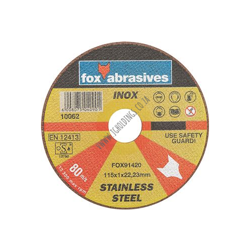 FOX ABRASIVE STAINLESS STEEL CUTTING WHEEL / DISC