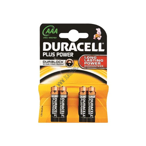 DURACELL PLUS POWER AAA BATTERIES 4 PACK 10  PER BOX