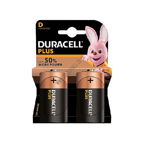 DURACELL PLUS 50% MORE POWER D-CELL BATTERY 2 PACK 10  PER BOX