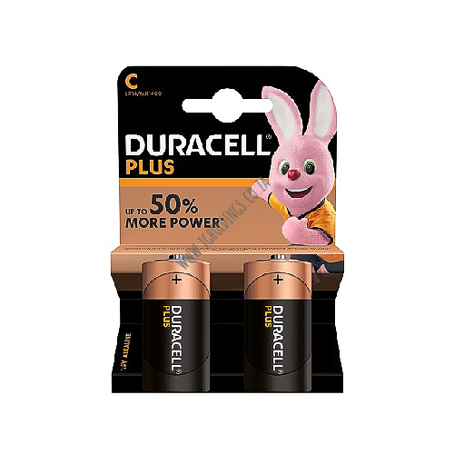 DURACELL PLUS 50% MORE POWER C-CELL BATTERY 2 PACK 10 PER BOX