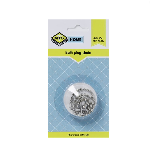 MTS HOME STANDARD WHITE BATH PLUG AND CHAIN - BLISTER