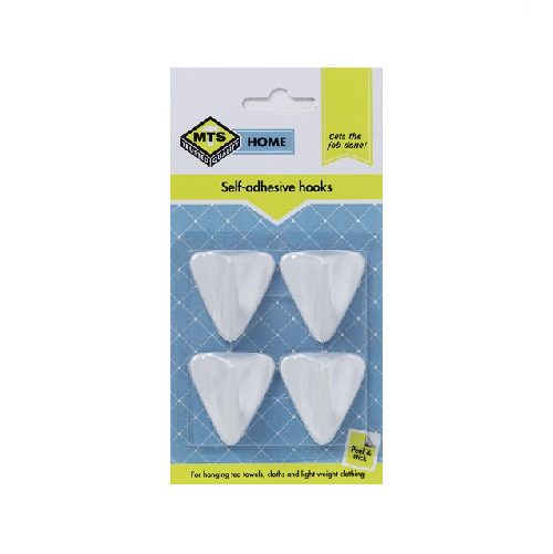 MTS HOME SELF ADHESIVE PLASTIC TRIANGLE HOOK 4 PIECE