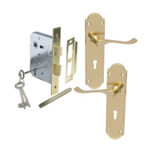 MACKIE CLASSIC BRASS STRAIGHT HANDLE AND PREMIUM MORTICE LOCK COMBO SETS BRASS