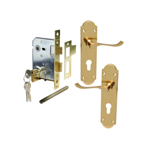 MACKIE CLASSIC BRASS SCROLL HANDLE & PREMIUM MORTICE LOCK COMBO SETS