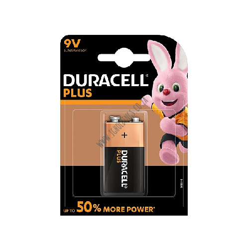 DURACELL PLUS 50% POWER 9V BATTERY 1PACK 10  PER BOX