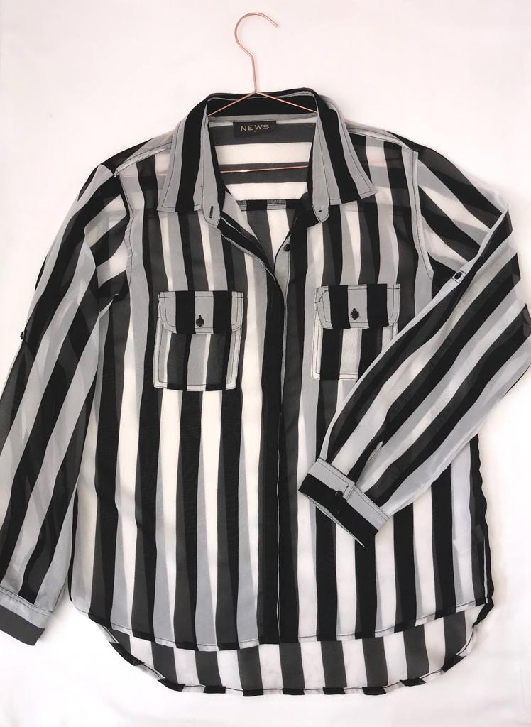 Foschini Black and White Stripped Shirt