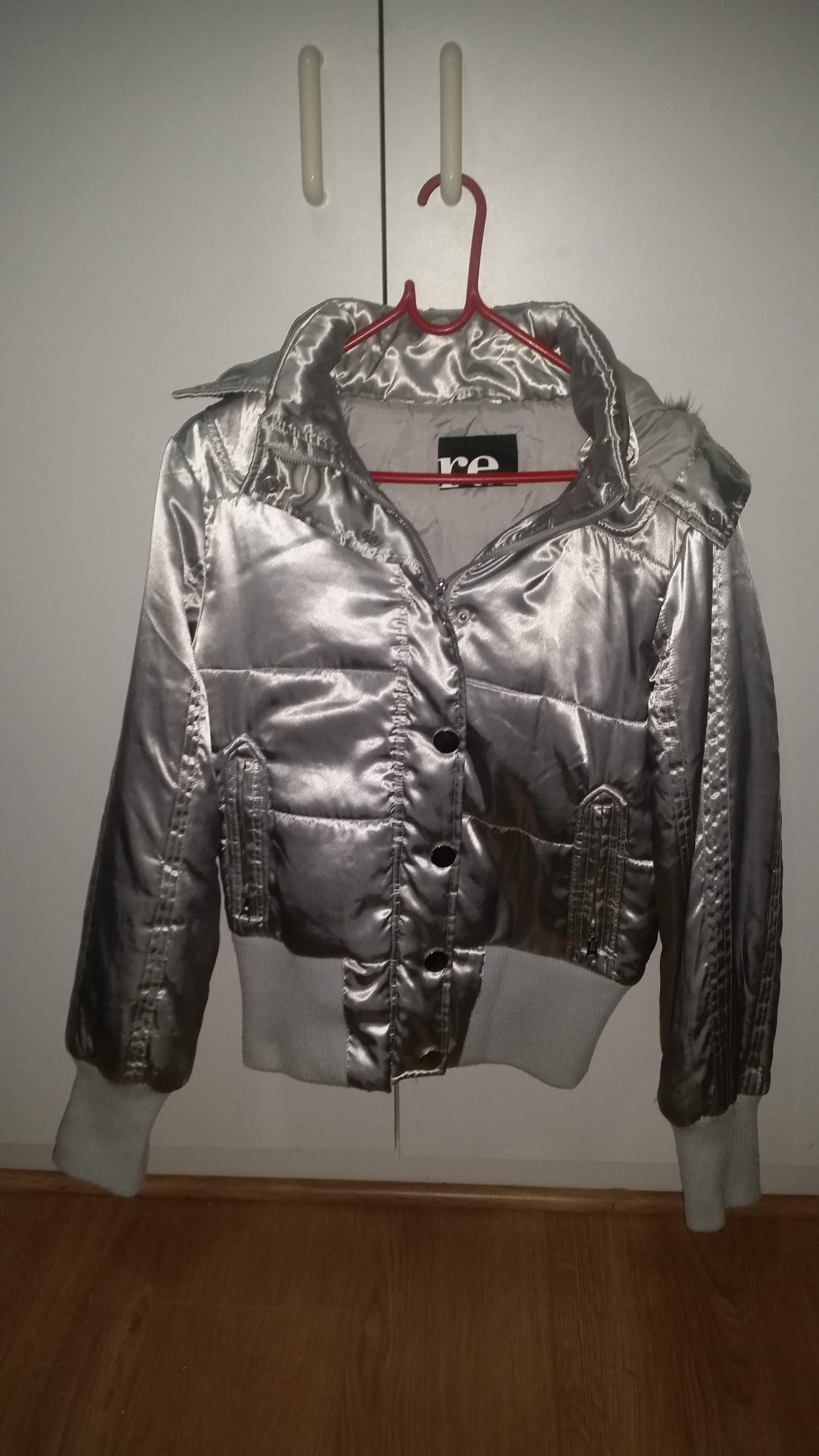 Metallic silver puffer jacket