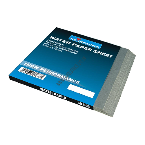 FOX ABRASIVE WATER PAPER SHEET - WET OR DRY SANDING PAPER 230X280MM