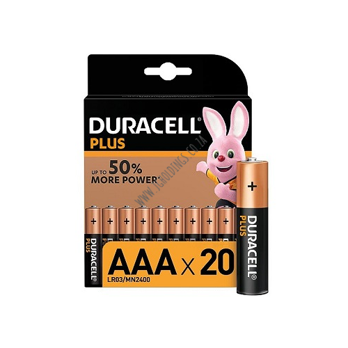 DURACELL PLUS POWER AAA BATTERY 20 PACK 10 PER BOX