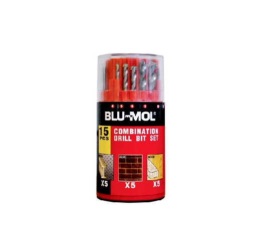 BLU-MOL DRILL BITS SET 15 PIECE METAL & MAS & WOOD