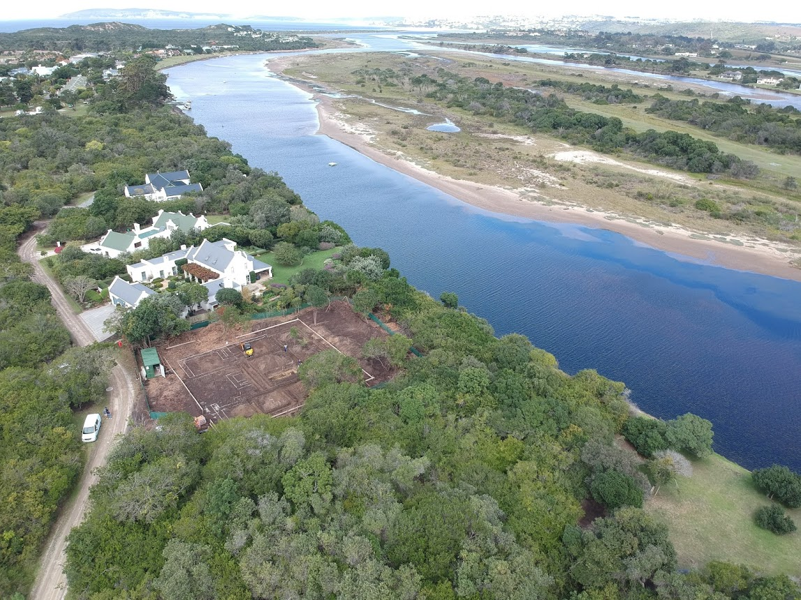 Drone photo of site on the banks of the Keurbooms River