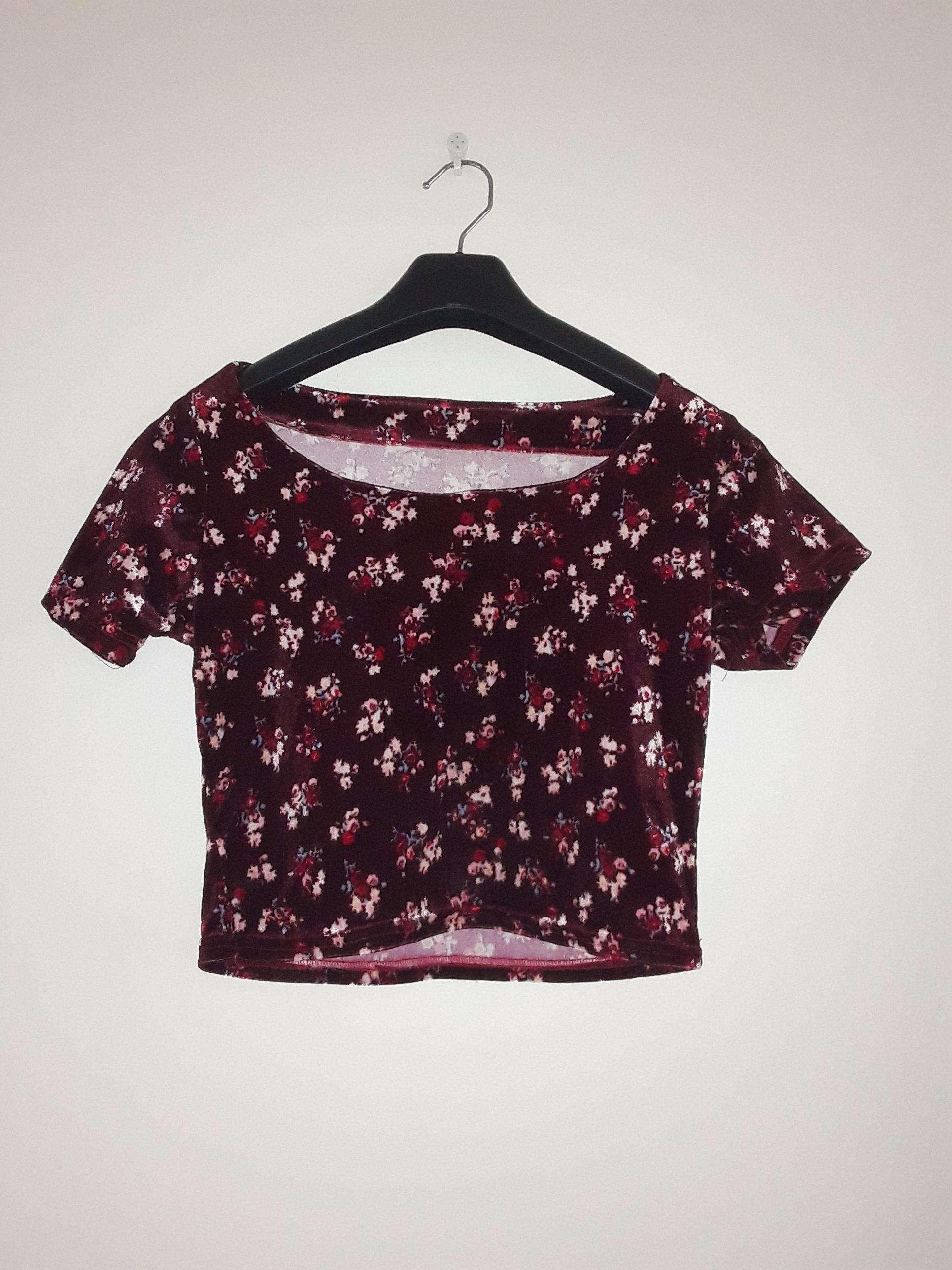 Maroon Floral Croptop and skirt combo