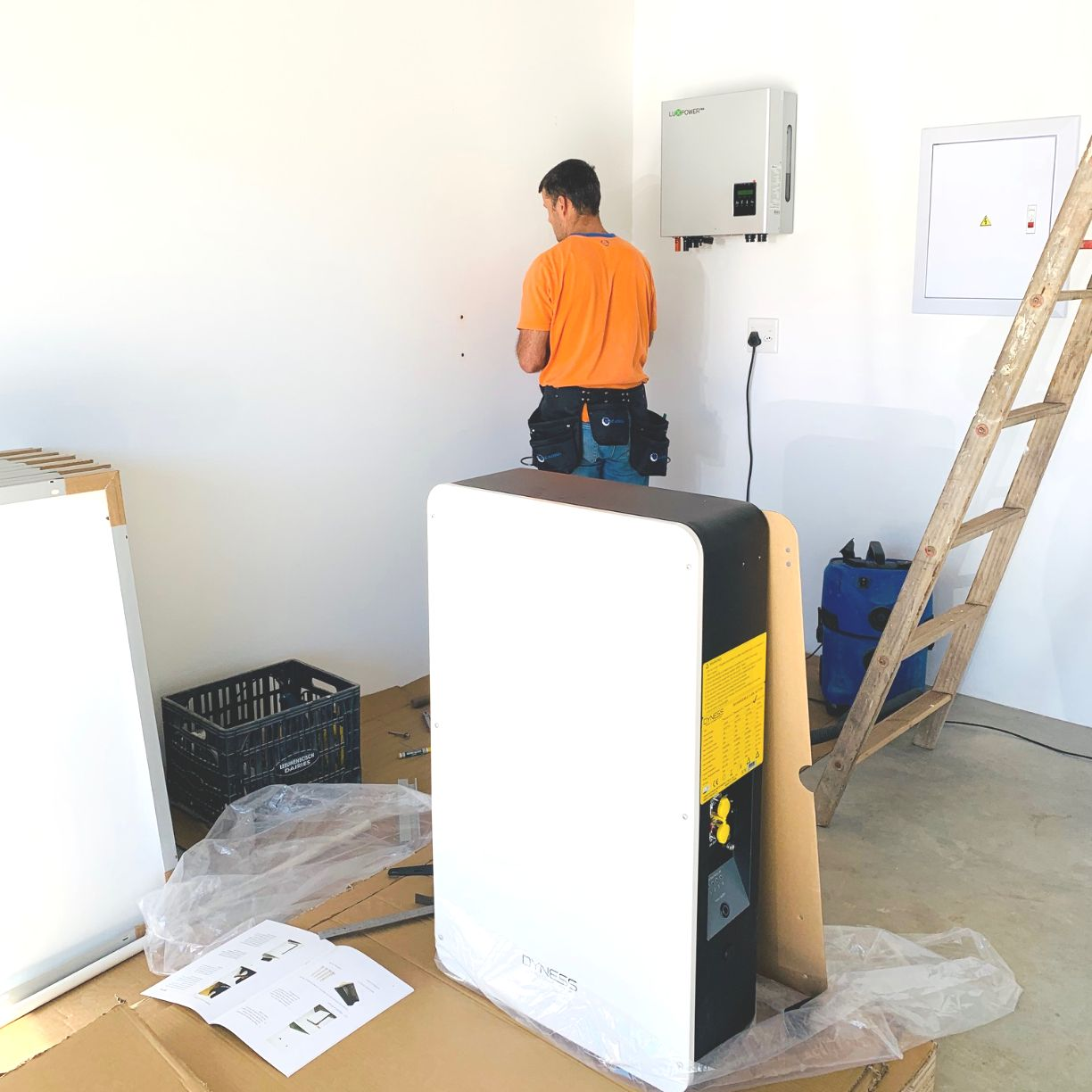 Installation of the Inverter & Powerbox in the garage.
