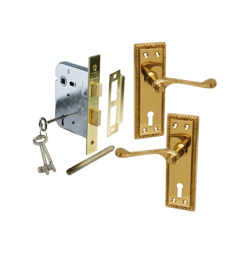 MACKIE CLASSIC BRASS HANDLE & MORTICE LOCK COMBO SETS