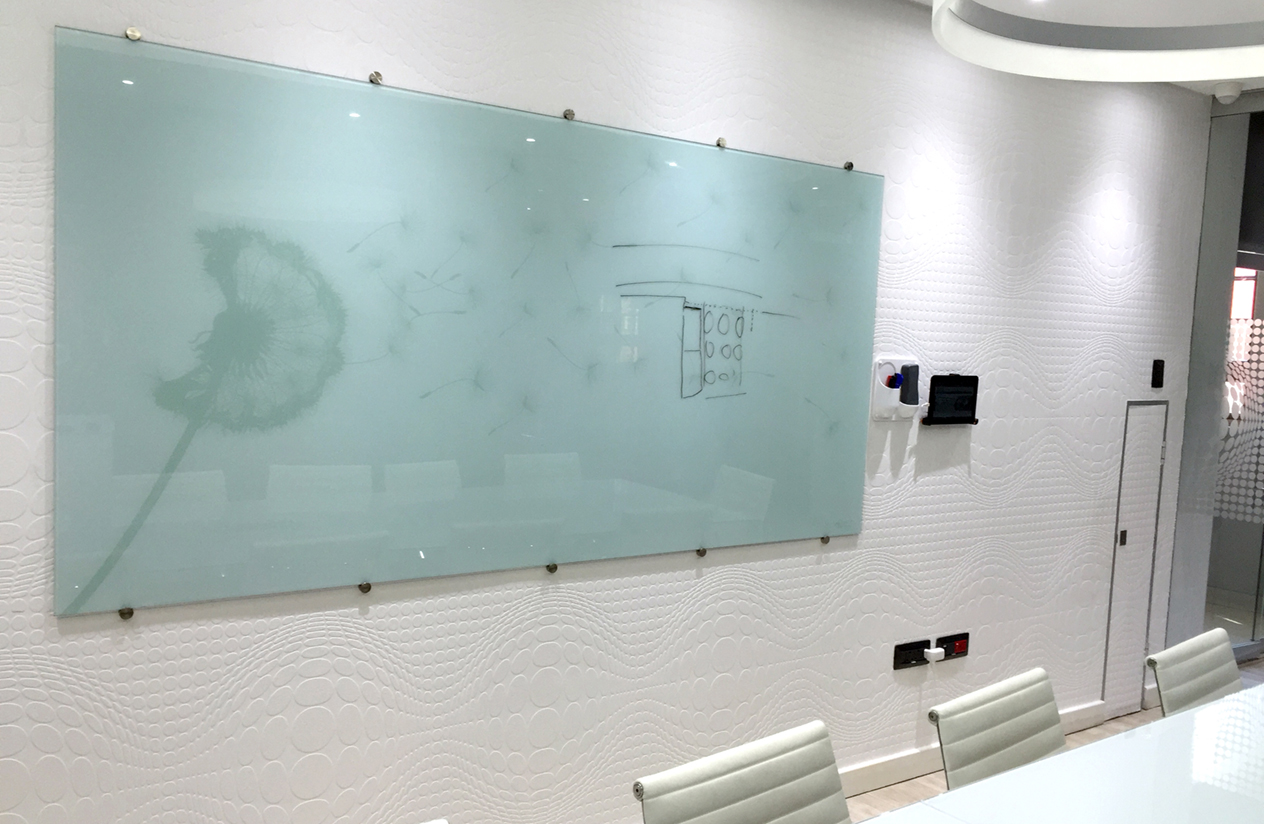 Glass Whiteboard Non-Magnetic Printed (1500x1200mm)